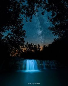 Falling Water Falls and the rising Milky Way before dawn, Ozark National Forest, Arkansas - Tim Ernst Photography