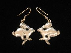 Vintage Kit Carson Southwestern Sterling Jack Rabbit Drop Earrings 1988. $45.00, via Etsy.