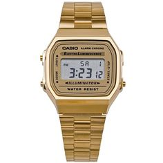 American Apparel A168WG9-A Casio Stainless Steel Digital Watch... (985 MXN) ❤ liked on Polyvore featuring jewelry, watches, accessories, bracelets, reloj, gold, stainless steel digital watches, stainless steel watches, waterproof watches and digital watch