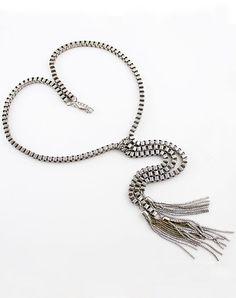 Silver Chain Tassel Necklace #SheInside