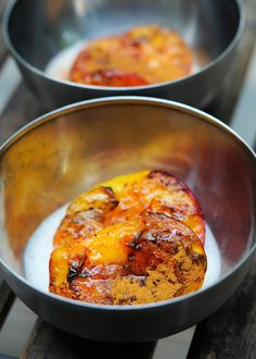 """A non-dairy version of """"Peaches and Cream""""... with grilled peaches.  Yum! **Just don't use cream or honey"""