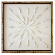 This stunning arrangement of natural spindle shells catches the eye and adds a sophisticated seaside note to your decor. Displayed in a silvery, acid-washed frame, this piece arrives ready to hang.