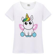 GTZM 2017 Slim Funny Unicorn T shirt Women Tops Kawaii Unicornio T-shirt  Female Summer Top Tshirt licorne Sexy Tees Cropped f571bcf2dcc0