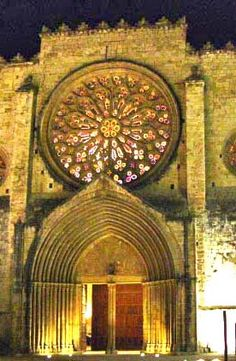 View of the rosette of the Monastery of Sant Cugat del Vallès, Catalonia,