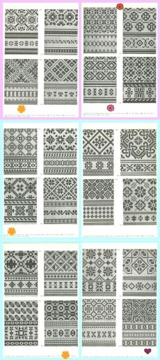 "so many lovely geometric patterns - how I would love to practice and put them together into two-tone squares for a kind of ""knitted"" quilt Fair Isle Knitting Patterns, Knitting Charts, Weaving Patterns, Knitting Designs, Knitting Stitches, Hand Knitting, Mittens Pattern, Knit Mittens, Crochet Chart"