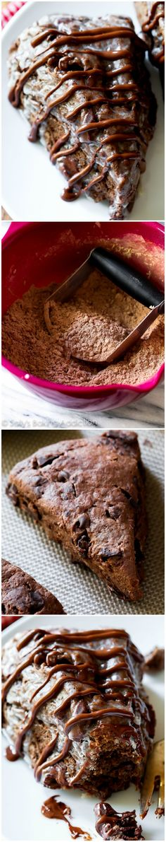 Triple Chocolate Scones-- these crumbly, yet moist triple chocolate scones taste like warm brownies from the oven! Yield- 8 scones Note: Freeze well for up to 3 months, glaze or no glaze No Bake Desserts, Just Desserts, Delicious Desserts, Dessert Recipes, Yummy Food, Cupcakes, Cupcake Cakes, Patisserie Vegan, Little Lunch