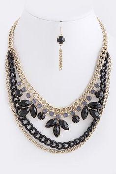 Stuffwholesale Gold Tone Cross Body Chain Collar Link Tassel Bib Necklace