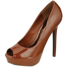 Amazon.com: Breckelles Womens Selena-03 Patent Leather Peep Toe Pumps: Shoes