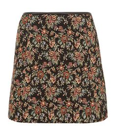 Black Pattern (Black) Black Floral Tapestry Mini Skirt  | 275733209 | New Look