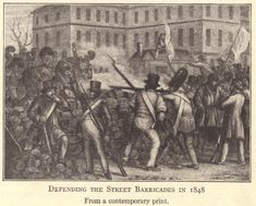 French Revolution of 1848.  Defending the street barricades.  From a contemporary print.