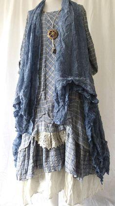 FAB GERMAN ZEDD.PLUS quirky/lagenlook blUE check RUFFLE FRILL dress L/XL