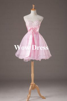 Pink Ball Gown/ Pink Prom Dress/ Short Prom Dress/ Bow by WowDress, $79.00