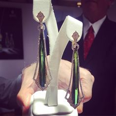 # 8: Next up in our top ten #luxuryprivebcountdown: these gorgeous green tourmaline drop earrings covered in white gold from @sparkcreations_jewelry. See it for yourself and more inspiring designs in Salon 311!