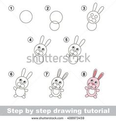 Raster copy. Step by step drawing tutorial. Visual game for kids. How to draw a Little Rabbit