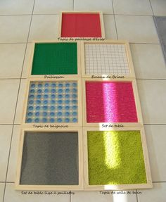 Sensory slabs to make! Baby Sensory Board, Sensory Wall, Sensory Boards, Maria Montessori, Montessori Activities, Infant Activities, Activities For Kids, Baby Activites, Daycare Rooms