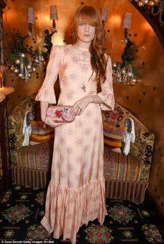 Think pink: The Florence And The Machine frontwoman looked typically whimsical in a floor-sweeping pink ruffled dress with fluted sleeves Florence And The Machine, Florence The Machines, Fleetwood Mac, Stevie Nicks, Florence Welch Style, Pink Dress, Dress Up, The Vampires Wife, Vestidos