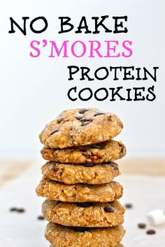 Healthy No Bake S'Mores Protein Cookies- All the taste of a s'mores bar, minus the fire! GF + refined sugar free! @thebigmansworld - thebigmansworld.com