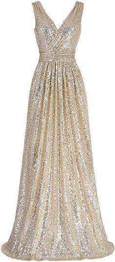 46bbd57c3210 Kate Kasin Plus Size Long Sequined Bridesmaid Dress for Women Evening Party  V-Neck Gold USA Women s Clothing store