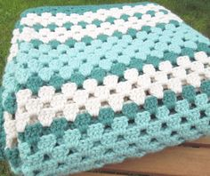 """Teal turquoise white crochet afghan throw - Vintage multicolored crochet afghan throw blanket 53"""" x 56"""" on Etsy, $26.00"""