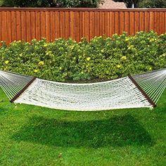 Outdoor Patio Coton Hammock Lounger Double Wide Solid Wood Garden Yard 450 Lbs #Kbrand