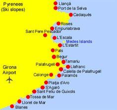 Costa brava, espana All About Spain, How To Plan, Travel Stuff, Costa, Om, Barcelona, Window, Maps, Cruises