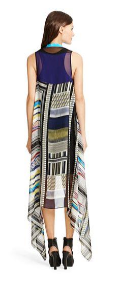 Long Serape Silk Chiffon Vest In Glass Scarf, back view  DVF Diane von Furstenberg