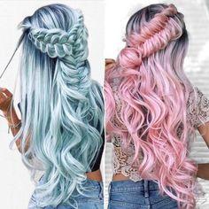 Cute Hair Colors, Hair Dye Colors, Ombre Hair Color, Cool Hair Color, Pastel Colors, Pelo Multicolor, Pinterest Hair, Pinterest Food, Super Hair