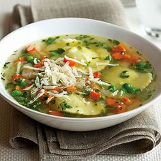 Herb Ravioli Soup - try making your own ravioli using won ton wrappers filled with a mixture of ricotta, parmesan, salt, pepper and skinny slivers of fresh mint and basil!