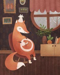 My little fox Art Print by Elvira Shevtsova - X-Small Art And Illustration, Fuchs Illustration, Illustrations, Pregnancy Art, Pregnancy Style, Fox Art, Best Artist, Cute Art, Art For Kids