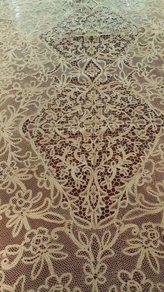 "Antique RARE Milanese Bobbin Cantu Lace Tablecloth Never Used 130""×65""   eBay"