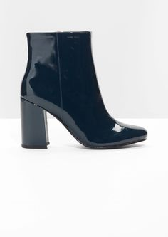 Other Stories image 1 of Lacquer Leather Boots in Blue
