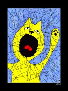 """'Primal Scream' 2.125"""" x 3.125"""" ACEO / ATC (Miniature Art) Print on METAL SHELL with Mylar/UV Protection and Flat MAGNETIC BACKING. $3.99. by e9Art (Cat Therapy Cartoon Humor Art Colorblind Artist Quirky Odd Unusual Unique Automatic Drawing Intuitive Surreal Visionary Fantasy Whimsical Marker Illustration)"""