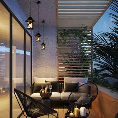 Apartment Balcony Decorating, Apartment Balconies, Apartments, Apartment Plants, Outdoor Spaces, Outdoor Living, Outdoor Ideas, Modern Garden Furniture, Furniture Sets