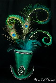 Mad Hatter Mini Top Hat - Emerald Green Silk