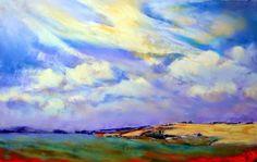 Sue Gardner 'Mustard Fields'  April landscape in soft pastel