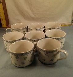 Sango China Sabrina Pattern# 8840-45 Set of 8 Coffee/Tea Cups #Sango