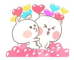 LINE Official Stickers - MheeNoom & TaiNim Celebration Edition Example with GIF Animation Cute Couple Cartoon, Cute Love Cartoons, Cute Cartoon Characters, Cartoon Gifs, Cartoon Images, Calin Gif, Cat Icon, Cute Love Gif, Dibujos Cute