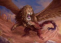 Persian Manticore Mythical Creatures Art, Mythological Creatures, Fantasy Creatures, Manticore, Fantasy Beasts, Dnd Monsters, Fantasy Monster, Persian, Lion Sculpture
