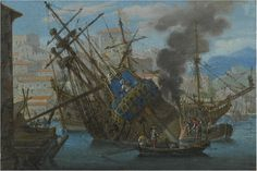 Abraham Casembrot, A Mediterranean Harbor with a Man-of-War being Caulked, 17th century