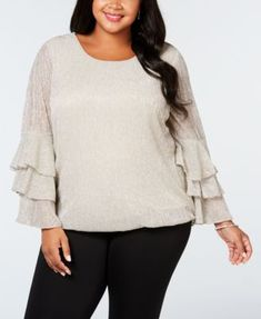 a4fc486afa5 Plus Size Metallic Tiered-Sleeve Bubble Top