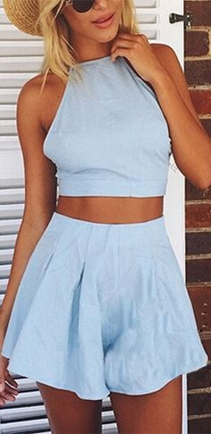 Light Blue Halter Tie Back Bow Tank Top Pleated Shorts Two Piece Romper