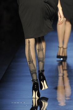 Jean Paul Gaultier's Eiffel Tower Stockings from the Fall Winter 2010-11 show. I WANT THESE.