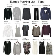"""""""Europe Packing List - Tops (mostly)"""" by ehale001 on Polyvore"""