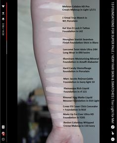 Thataylaa's 13 Very Fair Foundations - Screenshot / Swatches