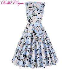 Cheap 2016 summer women dress, Buy Quality dress audrey directly from China women dress Suppliers: 2017 Summer Women Dress Audrey Hepburn Vestidos Sleeveless Polka Dot Floral Print Clothing Cotton 50s Casual Rockbilly Dresses