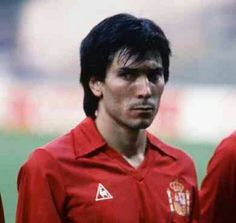 Romania 1 Spain 1 in 1984 in St Etienne. Lobo Sarrasco scored from the penalty spot on 22 minutes to make it 1-0 to Spain in Group B at Euro '84.