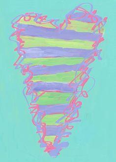 """Peri & Green Stripe Heart"" kids canvas wall art by Stephanie Bauer for Oopsy daisy, Fine Art for Kids #oopsydaisy #oopsydaisyart"