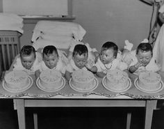 The Dionne quintuplets on their 1st birthday, 1935