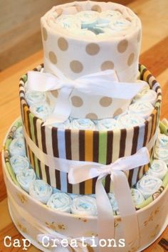 DIY Diaper Cakes. Much cheaper to make than purchasing already made.