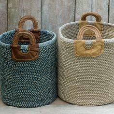 Indra Coil Basket in Blue and Natural Rope Basket, Basket Bag, Basket Weaving, Cross Shoulder Bags, Clothes Basket, Rope Crafts, Casual Bags, Sisal, Storage Baskets
